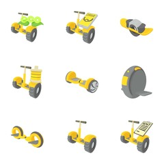 Balancing scooter icons set, cartoon style