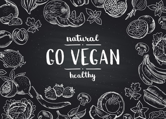 Vector go vegan blackboard background with doodle handdrawn fruits and vegetables