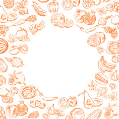 Vector handdrawn doodle fruits and vegetables set with round empty for your text