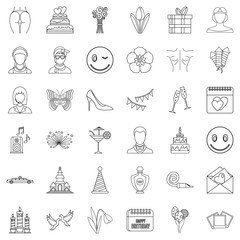 Cocktail icons set, outline style