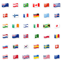 World flags vector icon set. Shiny glossy small waving flag icons with correct proportions.