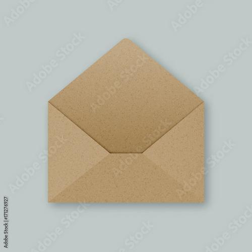 Stylish brown kraft paper open empty vector envelope mockup