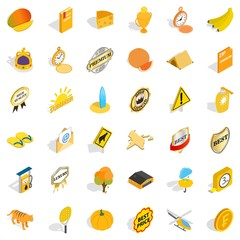 Cheese icons set, isometric style