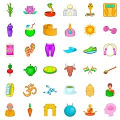 Dumpbell icons set, cartoon style