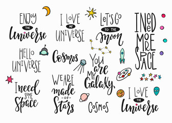 Universe Space Quote typography lettering set