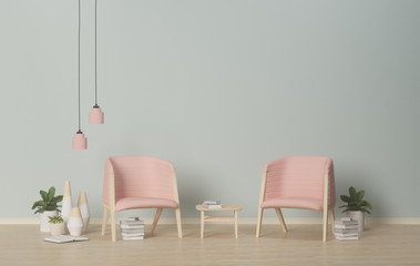 Interior pink armchairs and ornamental plants on empty wall background,3D rendering
