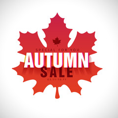 Simplemodern design  banner of the fall sale. Sign with Autumn text on a red silhouette background of a maple leaf. Poster for promotion, offer and discount. Vector.
