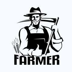 farmer stylized portrait, organic products logo template