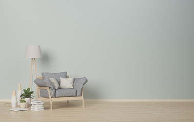Interior room,armchair and lamp on empty room,vases in the living room,interior background,3D rendering