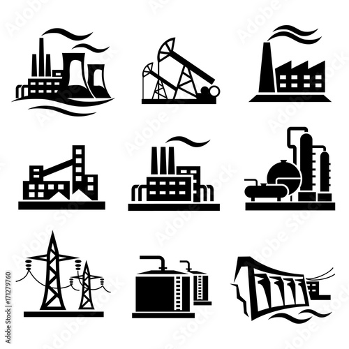 u0026quot icons collection of different power plants and factories  industry symbols u0026quot  stock image and