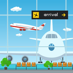 Waiting Room and Scoreboard Arrivals at the Airport , View on Airplanes through the Window from a Waiting Room , Travel Concept, Flat Design, Vector Illustration