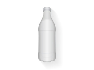 White plastic bottle with milk or yogurt for your design and logo.