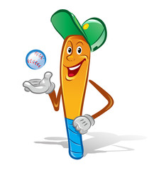 Happy cartoon baseball bat in a baseball cap with one hand rested on the side, the other hand throws the ball, ready to roll.  Funny cartoon character. Vector illustration.