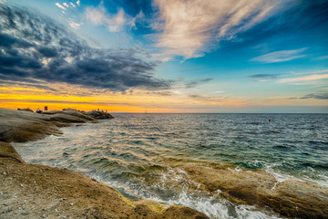 Scenic coastal sunset on island of Elba in Tuscany