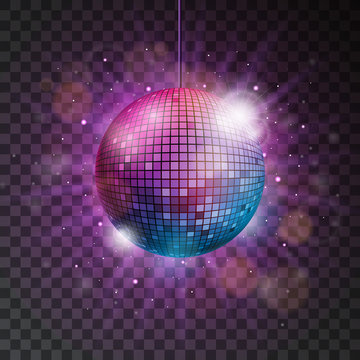 Vector shiny disco ball illustration on a transparent background.