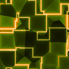 Beautiful green and orange cubic connection comunication design
