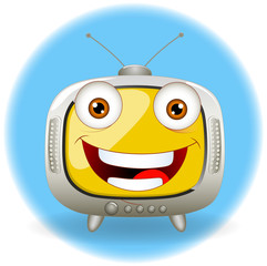 happy television Cartoon TV Vector