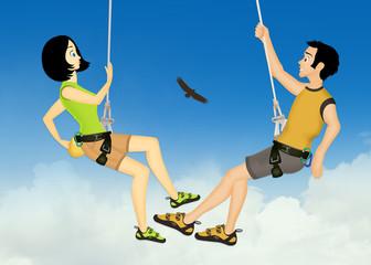 couple free climber