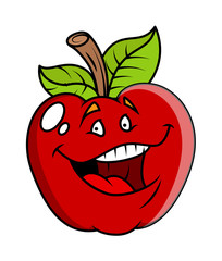 Laughing Cartoon Apple Vector