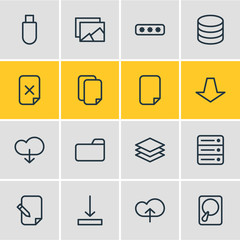 Vector Illustration Of 16 Archive Icons. Editable Pack Of Remove, Upload, Flash Drive And Other Elements.