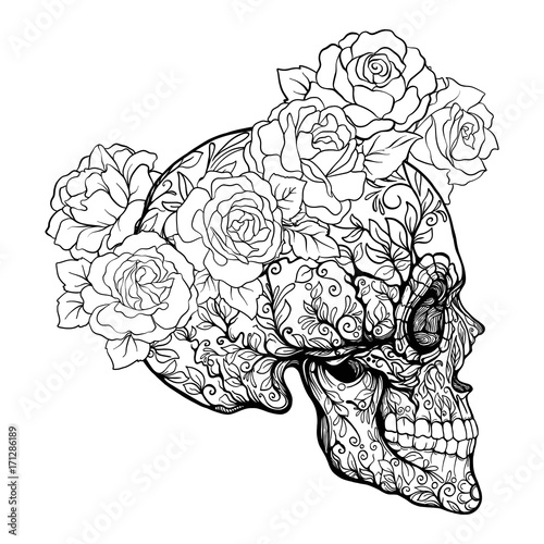 Quot Sugar Skull With Decorative Pattern And A Wreath Of Red