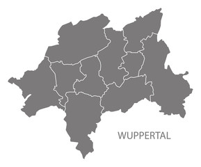 Wuppertal city map with boroughs grey illustration silhouette shape