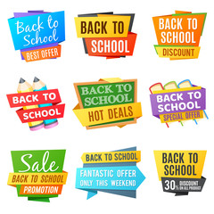 Creative back to school vector advertising banners