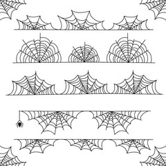 Halloween cobweb vector frame border and dividers with spider web