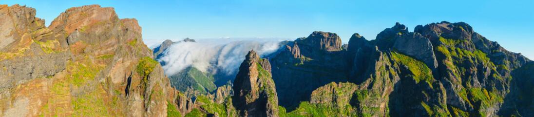 View of mountains on the route Pico Areeiro - Pico Ruivo, Madeira Island, Portugal, Europe.