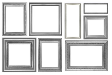 collection of vintage silver picture frame isolated.