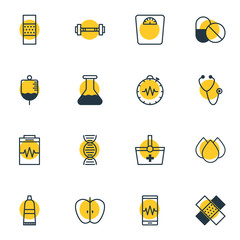 Vector Illustration Of 16 Medicine Icons. Editable Pack Of Basket, Antibody, Phone Monitor And Other Elements.