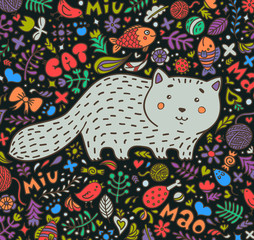 Hand-drawn illustration. A fat gray cat surrounded by flowers, fish, toys and other feline staff. Doodle style. On a dark background