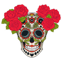 Sugar skull with decorative pattern and a wreath of red roses. Stock line vector illustration.