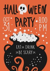 Vector Halloween party poster template with witches cauldron