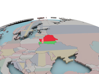 Political map of Belarus on globe with flag