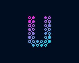 Circuit Digital Technology Letter U Icon Logo Design Element
