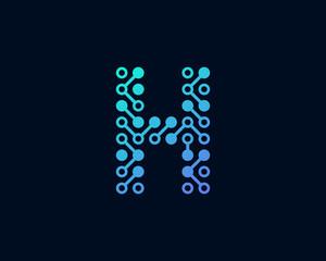 Circuit Digital Technology Letter H Icon Logo Design Element