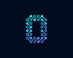 Circuit Digital Technology Number 0 Icon Logo Design Element