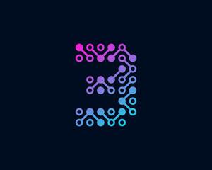 Circuit Digital Technology Number 3 Icon Logo Design Element