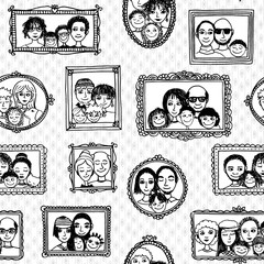 Seamless pattern of cute family pictures hanging on the wall, in black and white
