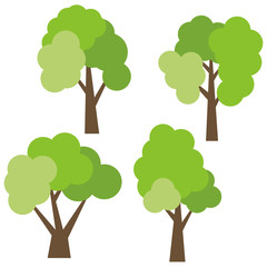 Set of four different cartoon green trees isolated on white background. Vector illustration