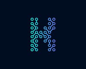 Technology Digital Circuit Letter K Icon Logo Design Element