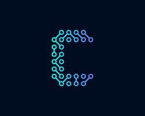 Technology Digital Circuit Letter C Icon Logo Design Element
