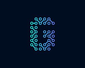 Technology Digital Circuit Letter G Icon Logo Design Element