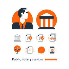Public notary services icons set, law firm man advocacy consult document certify