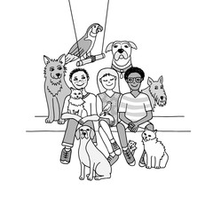 Drawing of three cute children with their pets in black and white