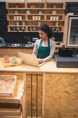 Waitress using laptop at counter