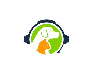Animal Podcast Icon Logo Design Element