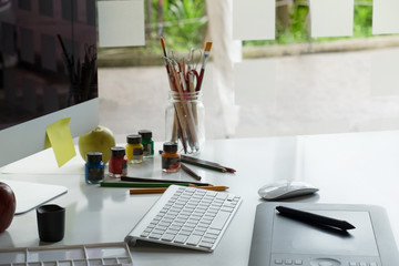 Graphic Design Studio creativity Ideas modern office workplace.