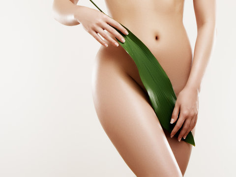 Body care and skin care. Depilation concept. Waxing for beautiful woman. Brazilian laser hair removal bikini line and sexy body shapes. Sexy woman in spa